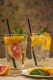 两杯玻璃水用红色桔子、柠檬、薄菏和冰 Fr 库存照片