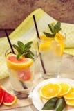 两杯玻璃水用红色桔子、柠檬、薄菏和冰 Fr 免版税图库摄影