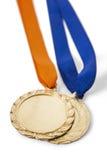两枚奥运金牌奖牌 图库摄影