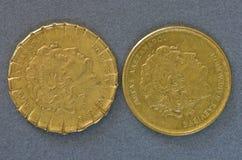 两枚希腊迪拉姆硬币 图库摄影