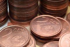 两枚欧分硬币 库存照片