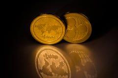 两枚cryptocurrency硬币背景 免版税图库摄影