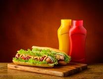两根热狗用芥末和番茄酱 库存图片