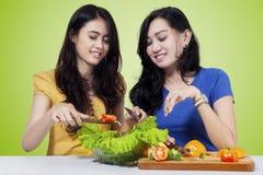 两棵妇女厨师菜沙拉 免版税库存图片