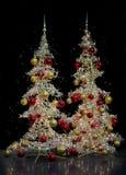 两棵现代银色圣诞树 库存图片