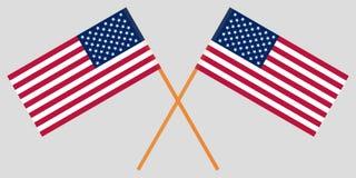 两横渡的美国美国国旗 向量 图库摄影
