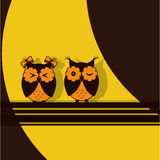 两橙色棕色猫头鹰 库存照片