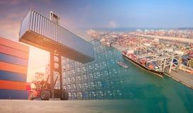 两次曝光叉架起货车和容器运输小船 库存图片