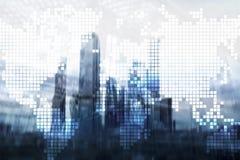 两次曝光在摩天大楼背景的世界地图 通信和全球企业概念 免版税库存图片