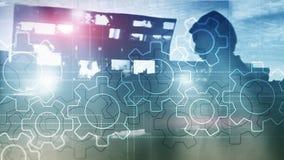 两次曝光在被弄脏的背景的齿轮机构 事务和工业生产方法自动化概念 库存图片