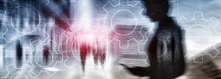 两次曝光在被弄脏的背景的齿轮机构 企业和工业生产方法自动化概念 免版税图库摄影
