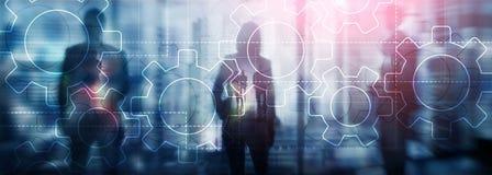 两次曝光在被弄脏的背景的齿轮机构 企业和工业生产方法自动化概念 向量例证