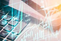 两次曝光在财政统计数据的企业辅助部件 库存照片