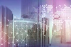 两次曝光混合画法 图、象和联系结构在全息图屏幕上 商人和现代城市backgr的 库存例证