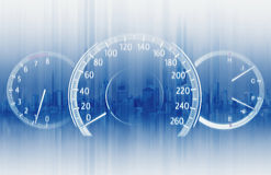 两次曝光车速表有未来派速度行动背景 免版税库存图片