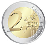 两欧元硬币例证 免版税库存图片