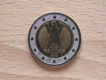 两欧元硬币金钱 免版税图库摄影