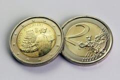 两欧元硬币,纪念但丁・阿利吉耶里,意大利 免版税库存图片
