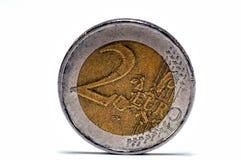 两欧元硬币  免版税库存照片