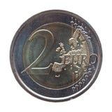 两欧元(EUR)硬币 库存图片