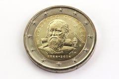两欧洲纪念硬币伽利略・伽利略,意大利 免版税库存图片