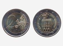 两欧洲& x28; EUR& x29;从圣马力诺的硬币 库存照片