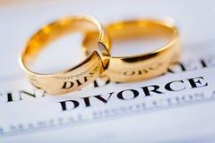 两残破的金婚敲响离婚旨令文件 免版税库存图片