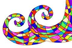 两波形的一张手拉的抽象图片 向量例证