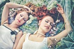 两浪漫女孩在春天 免版税库存照片
