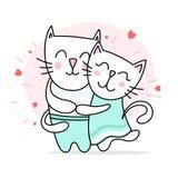 两爱的白色猫拥抱和微笑 愉快的华伦泰` s天爱传染媒介平的例证卡片 皇族释放例证