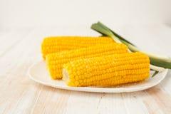 两玉米棒烹调了在白色背景的玉米 免版税库存照片