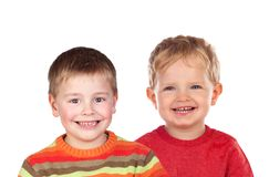 两白肤金发儿童笑 库存照片