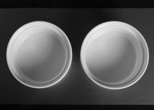 两白色圆的瓷碗 免版税图库摄影