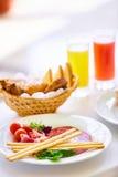 两的可口早餐在豪华旅馆 库存图片