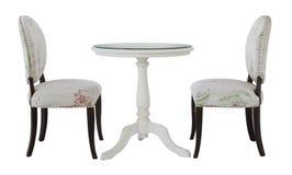 两的圆的饭桌与白色布料在白色backgrou 免版税库存照片