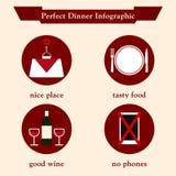 两的完善的浪漫晚餐infographic 免版税库存照片