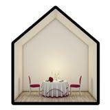两的浪漫晚餐,隔绝在白色背景 免版税库存图片