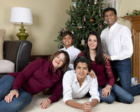 两种人种的家庭圣诞节画象 库存图片