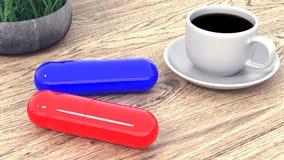 两种大片剂和一杯咖啡在桌上的 3d翻译 皇族释放例证