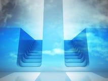两种楼梯方式在蓝天的决定概念 免版税库存照片
