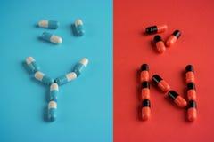 两种类医疗胶囊  选择,了悟,副作用的概念 免版税库存照片