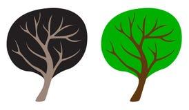 两种颜色的树,模板,标志 库存例证