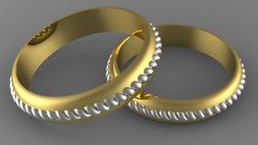 两种颜色金子婚戒 免版税库存图片