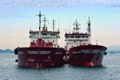 两站立肩并肩在路的罐车 不冻港海湾 东部(日本)海 15 08 2014年 免版税图库摄影