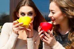 两笑年轻俏丽的妇女户外和饮用的咖啡或者 库存图片