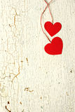 两红色心脏由纸制成 免版税库存照片