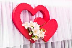 两红色心脏装饰 日凹道愉快的例证s华伦泰 免版税库存照片