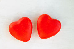 两红色心脏 库存图片
