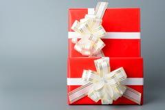 两红色有一条白色丝带和弓的礼物盒 免版税图库摄影