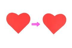 两红色纸心脏,概念关系 库存图片